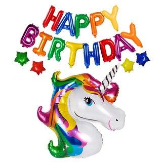 סט בלונים יום הולדת שמח וחד קרן צבעוני
